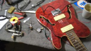 Harley Benton Thinline modified with Guitarfetish P180 pickups