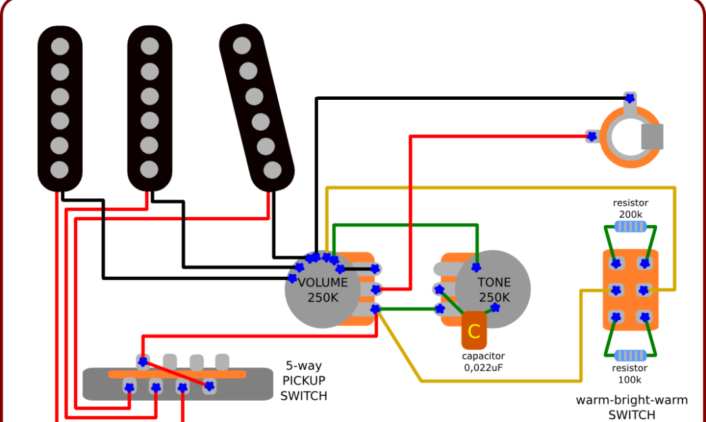 Wiring Diagram for Stratocaster – With a Warm-Bright-Warm Switch