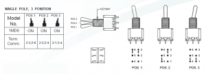 three positions double pole (DP3T) ON/ON/ON toggle switch